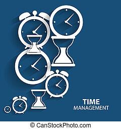 lejlighed, ledelse, væv, ambulant, moderne, vektor, tid, ikon