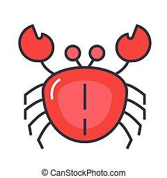 lejlighed linje, krabbe, lineære, concept., editable, isoleret, illustration, vektor, stroke., baggrund, hvid, icon.