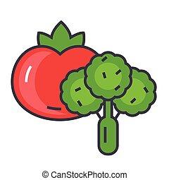 lejlighed linje, lineære, grønsager, editable, isoleret, illustration, vektor, stroke., baggrund, hvid, concept., icon.