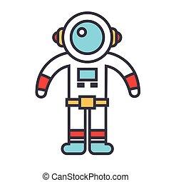 lejlighed linje, lineære, spaceman, concept., editable, isoleret, illustration, vektor, stroke., baggrund, hvid, icon.
