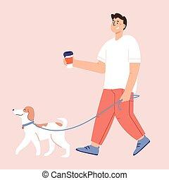 lejlighed, menneske, vektor, omkring, illustration, venskab, cartoon, hunde