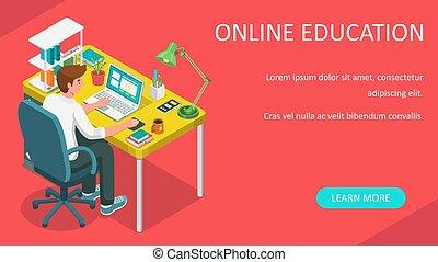 lejlighed, online, afstand, vektor, e-learning, tutorials, banner., skrivebord, eller, undervisning, lærdom, home., student, kurser, væv, illustration., laptop., kigge, siddende, concept., isometric