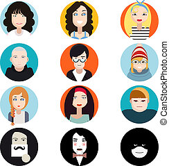 lejlighed, pæn, kvindelig, iconerne, moderne, samling, vektor, konstruktion, illustration, bogstaverne, ansigter, trendy, stilfuld, mandlig, avatar