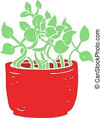 lejlighed, plante, farve, hus, illustration, cartoon