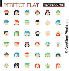 lejlighed, sæt, folk, avatars, icons., vektor