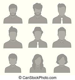 lejlighed, sæt, folk, illustration, avatar, vektor, konstruktion, bruger, ansigter, ikon