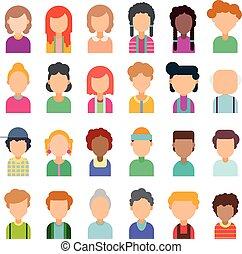 lejlighed, sæt formgiv, avatars, farverig