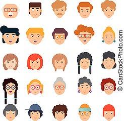 lejlighed, sæt formgiv, farverig, ansigter