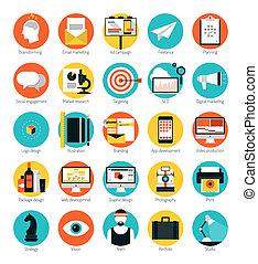 lejlighed, sæt, iconerne, markedsføring, konstruktion, tjenester