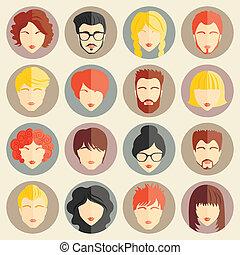 lejlighed, sæt, moderne, piger, avatars, vektor, konstruktion, stilfuld, guys