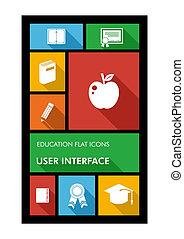 lejlighed, skole, farverig, ambulant, app, tilbage, icons., bruger grænseflade