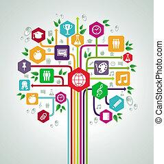lejlighed, skole, netværk, iconerne, tilbage, træ., undervisning