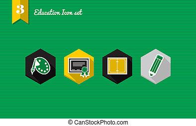 lejlighed, skole, sæt, iconerne, tilbage, samling
