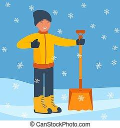 lejlighed, skovl, vinter, snowflakes., stor, sne, snow., start, vektor, konstruktion, rensning, illustration., fald, mand, style., landskab, glade
