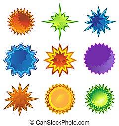 lejlighed, starburst, sæt, stjerne, ikon