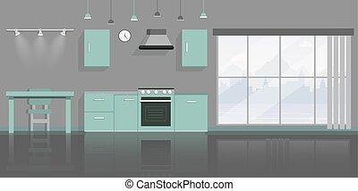 lejlighed, tom, interior, furnishing., komfur, kabinetter, tabel, nej, panorama, rense, samtidig, dinere rum, hætte opbrug, folk, vektor, beboelseslejligheden, stol, decor, illustration., køkken, ovn