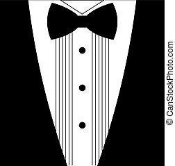 lejlighed, tuxedo, bøje sig, sort slips, hvid
