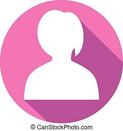 lejlighed, vektor, avatar, kvindelig, ikon