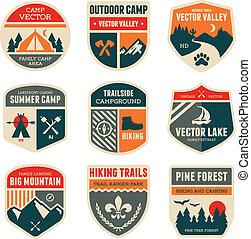 lejr, retro, emblemer