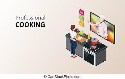 lektion, mens, skole, masterclass, hjem, webinar, køkkenchef, streaming, kvinde, madlavning, online, blog., isometric