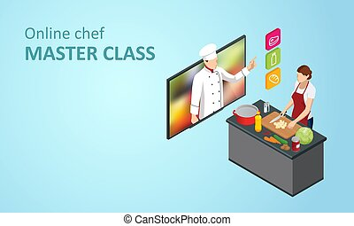 lektion, webinar, hjem, masterclass, kvinde, blog., mens, online, madlavning, køkkenchef, isometric, skole, streaming