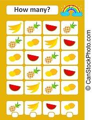 lemon., frugter, children., sted, enkel, mathematics., hvordan, picture., isoleret, vektor, answers., lejlighed, boldspil, watermelon, ananas, banan, mange, studium, illustration., optælling, preschool