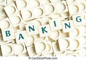 leter, bankvirksomhed, lavede, glose, stykker