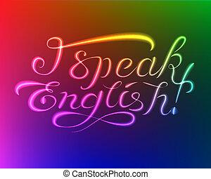 lettering:, lys, tal, engelsk