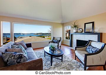 leve rum, furnished, forbløffende, vindue, rige, udsigter