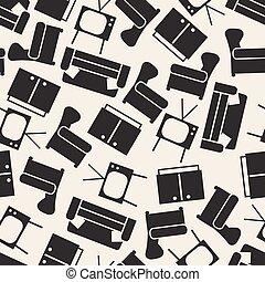 leve rum, mønster, seamless, baggrund, monochrome, furniture