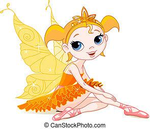 liden, fairy, appelsin, ballerina