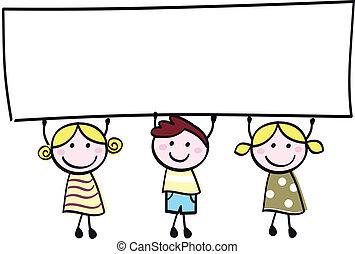 liden, holde, banner, glade, tom, cute, -, dreng, piger, blank, cartoon, illustration.