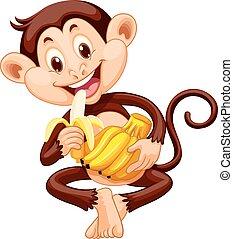 liden, nydelse, abe, banan
