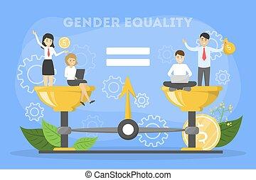 lighed, concept., mandlig, køn, kvindelig, karakter