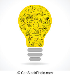 lightbulb, doodle, ide, kort, infographics, ikon