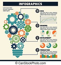 lightbulb, indgreb, infographics