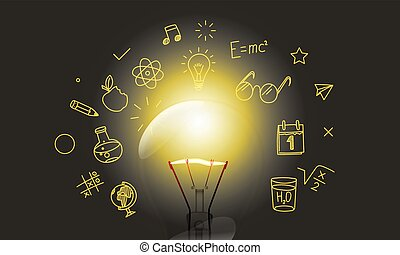 lightbulb, medier, klar, doodle, iconerne