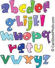 lille, alfabet, cartoon