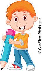 lille dreng, blyant, cartoon