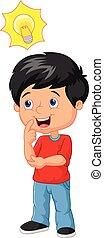 lille dreng, cartoon, ide, stor