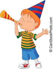 lille dreng, cartoon, trompet