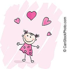 lille, hjerter, pige