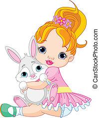 lille pige, hugging, stykke legetøj, bunny