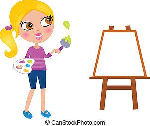 lille pige, maler, børste, glade, maling, cartoon