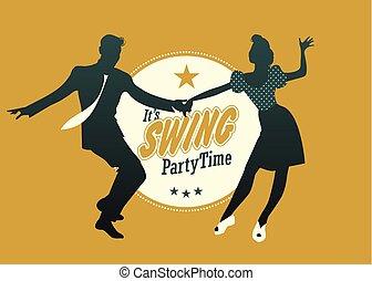 lindy, silhuet, time:, dansende, par, svinge, unge, hop, gyngen, gilde, svinge, eller