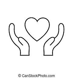 lineære, valentine's, illustration, hvid, eller, hænder, 8., constitutions, marts, smukke, vektor, sort, dag, ikon, enkel, ferie, hjerte
