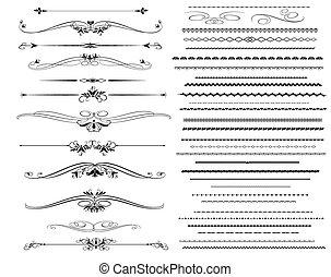 linjer, regel, ornamental, forskellige