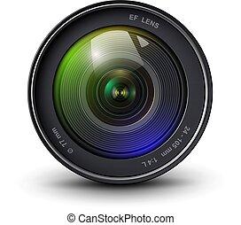 linser, kamera, 3, ikon