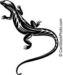 lizard, sort, reptil