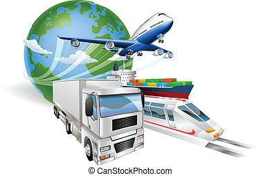 logistik, begreb, globale, tog, lastbil, flyvemaskine, skib